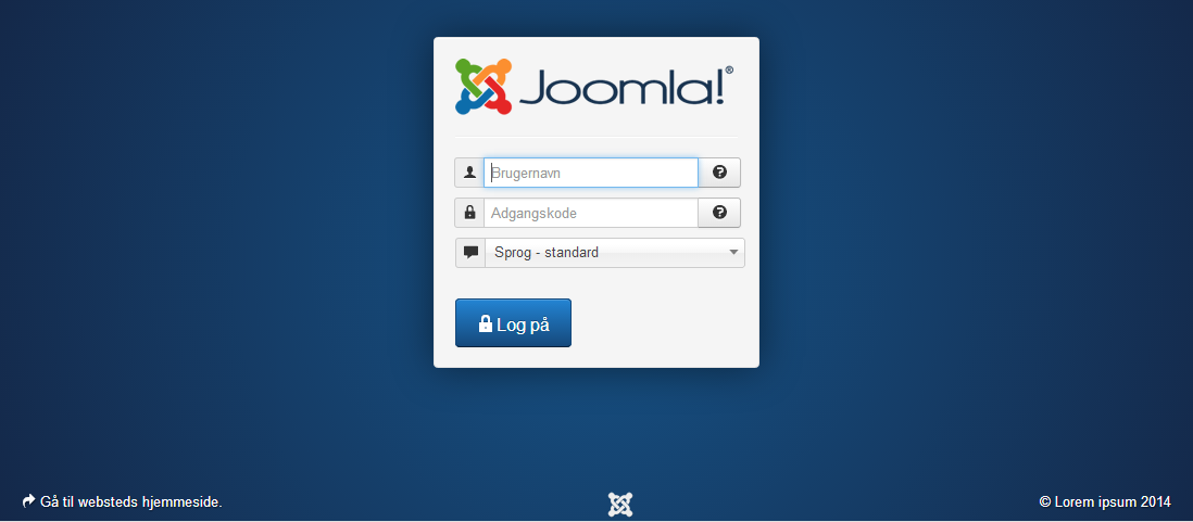 Joomla login screen